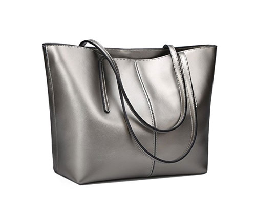 Silver Bag by Obosoyo Women's Handbag Genuine Leather Tote Soft