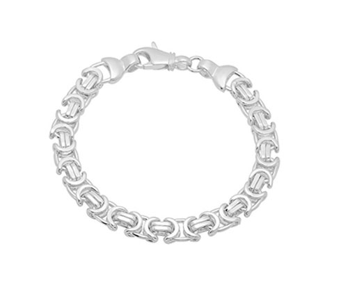 Silver Bracelet Italian Crafted 8mm Solid 925 Sterling Byzantine Link Chain