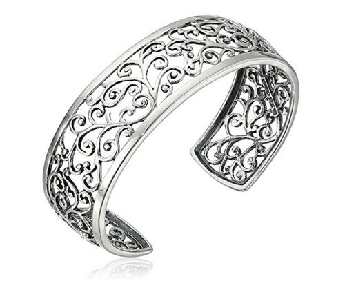 Silver Bracelet Sterling Filigree Cuff