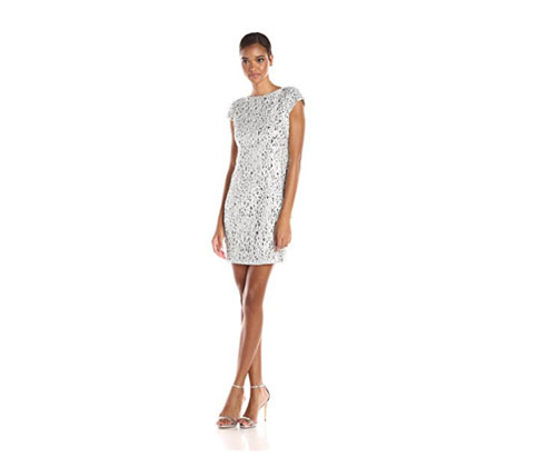 Silver Dress by Adrianna Papell Women's Cap Sleeve Cocktail Dress