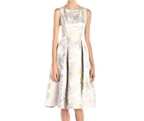 Silver Dress by Adrianna Papell Women's Sleeveless Tea-Length