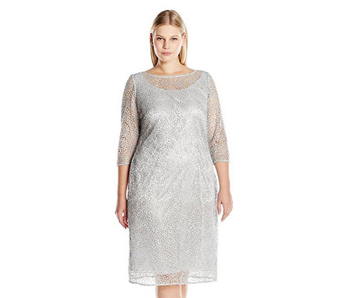 Silver Dress By Alex Evenings Womens Plus Size Short Lace Cocktail