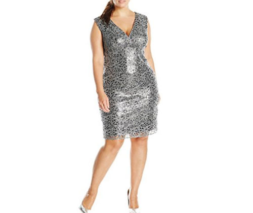 Silver Dress by Marina Women\'s Plus-Size V Neck Sequin Lace ...