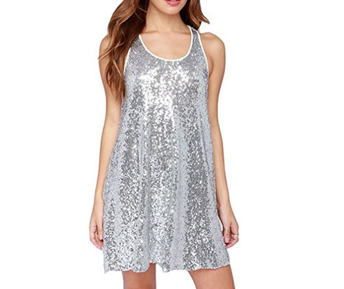 Silver Dress by Summerwhisper Sequins Party Dress