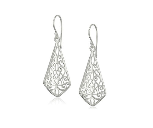 Silver Earrings Sterling Diamond Shape Filigree Drops