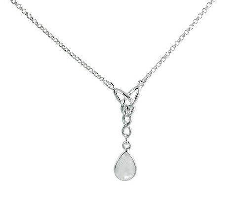 Silver Necklace Sterling Celtic Tear Drop with Natural Moonstone