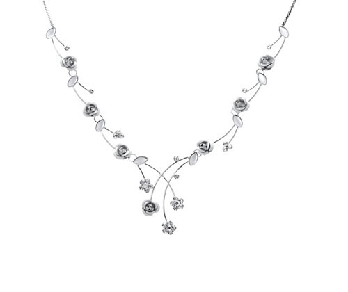Silver Necklace by Glamorousky Elegant Roses with Silver Austrian Element Crystals
