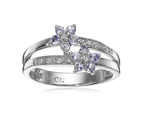 Silver Ring Sterling Tanzanite and Diamond Floral Cluster
