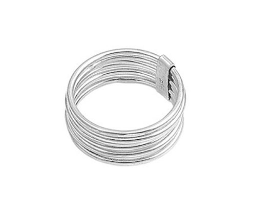 Silver Ring Wide 7 Interlocked Chamber Multi Bands Plain Polished Sterling