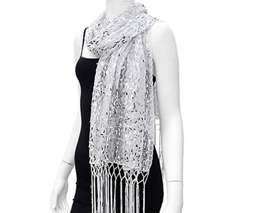 Silver Scarf by Leslie Li Sheer Shimmer Sequins Fringe