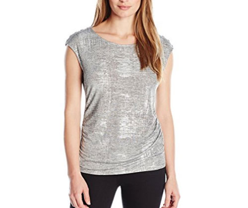 Silver Top Calvin Klein Women's Top With Shoulder Buttons