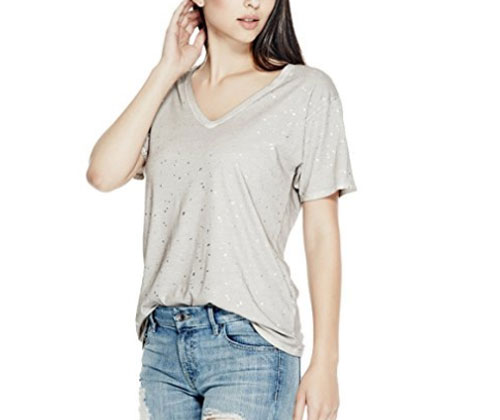 Silver Top by GUESS Women's Washed Foil V-Neck Tee