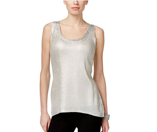 Silver Top by INC International Concepts Women's Metallic Foil Tank Top