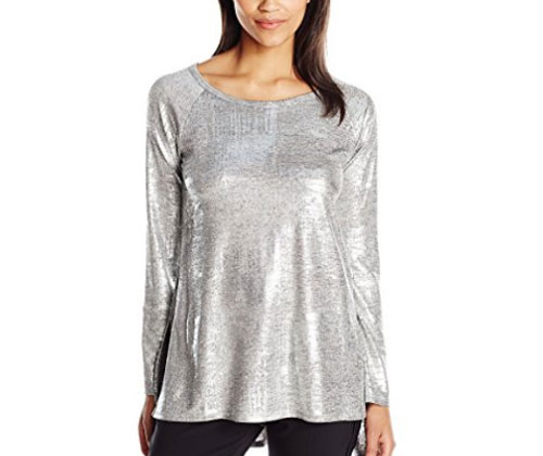 Silver Top by Karen Kane Women's Stretch Hi-Lo Raglan Sleeve Top