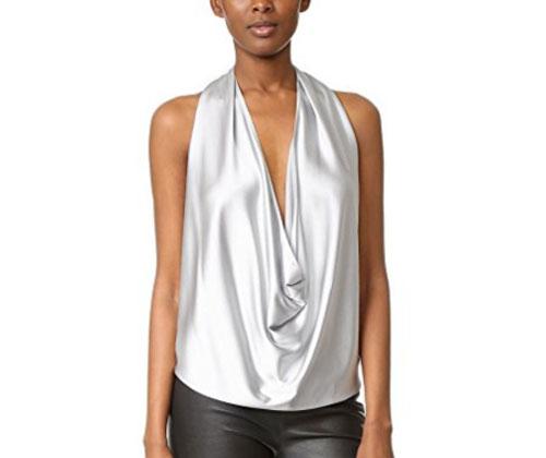 Silver Top by Ramy Brook Women's Harriet Halter Top