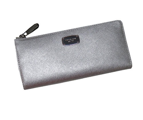 Silver Wallet Michael Kors Jet Set Travel Large Three Quarter Zip Around Leather