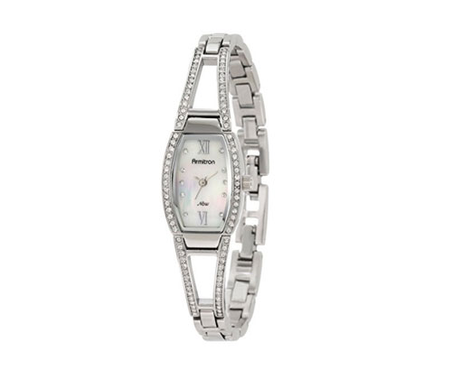 Silver Watch by Armitron Women's Swarovski Crystal Accented Bangle Watch