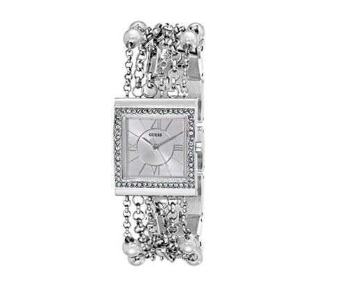 Silver Watch by GUESS Women's U0140L1 Pearl Embellished Bracelet