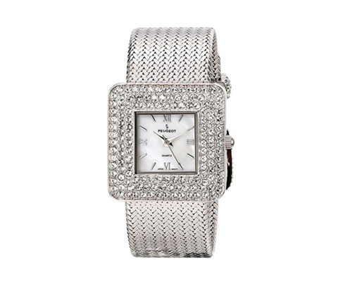 silver-watch-by-peugeot-womens-weave-bracelet-with-square-crystal-bezel-and-mother-of-pearl