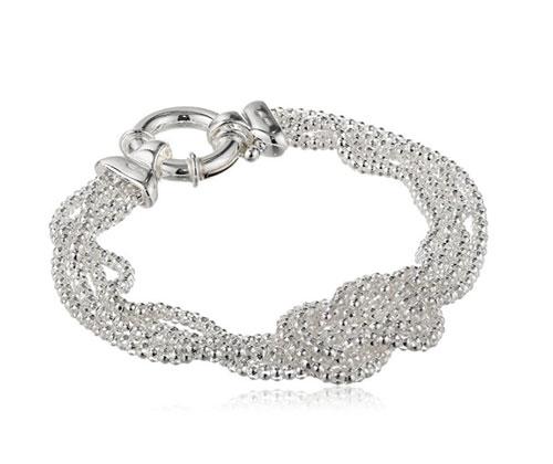 "Silver Jewelry- Sterling Silver Mesh Love Knot Bracelet, 7.5"""