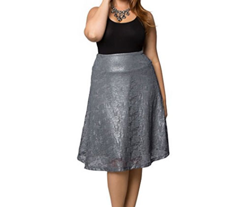 Silver Skirt by Kiyonna Women's Plus Size Limited Edition Shimmer Circle Skirt