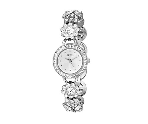 Silver Watch by GUESS Women's Jewelry Inspired Watch with Genuine Crystals & Self-Adjustable Bracelet